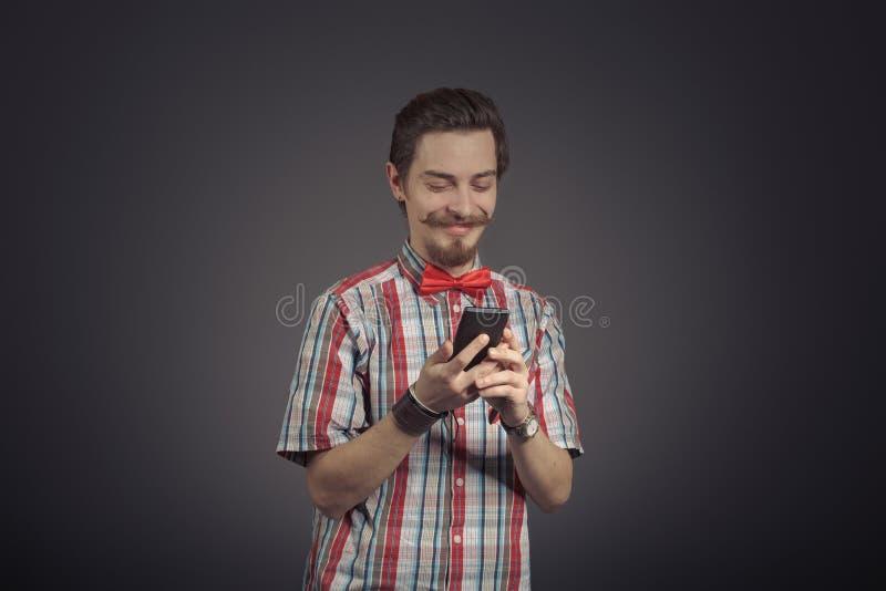 Portret van gebaarde hipster stock afbeelding