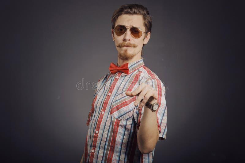 Portret van gebaarde hipster royalty-vrije stock afbeeldingen