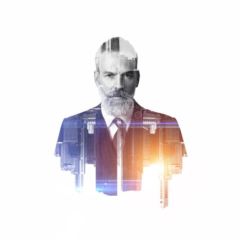 Portret van gebaarde zakenman Dubbele blootstelling stock afbeelding