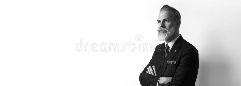 Portret van gebaarde zekere zakenman die in kostuum over lege witte achtergrond dragen De tekstruimte van het exemplaardeeg wijd royalty-vrije stock foto's