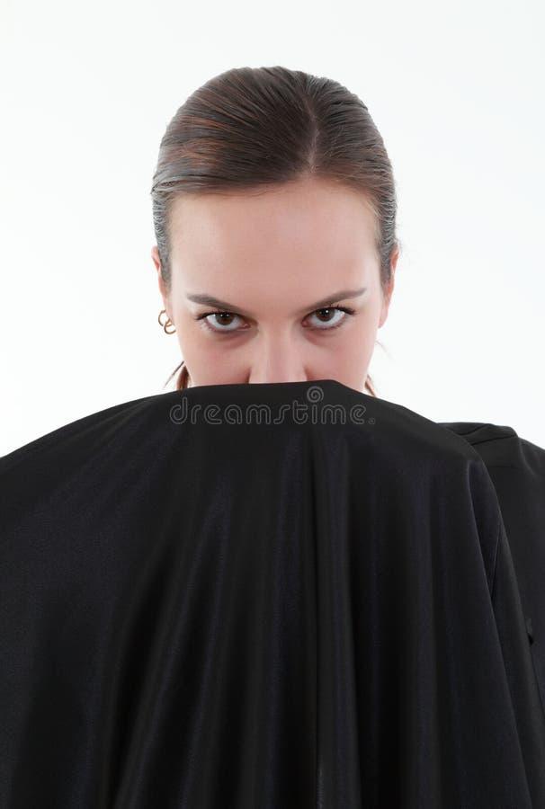 Portret van geheimzinnigheid vrouw stock fotografie