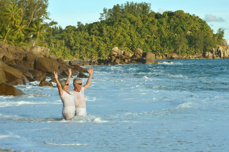 Portret van gelukkig bejaard paar die op strand golvende handen rusten royalty-vrije stock afbeelding