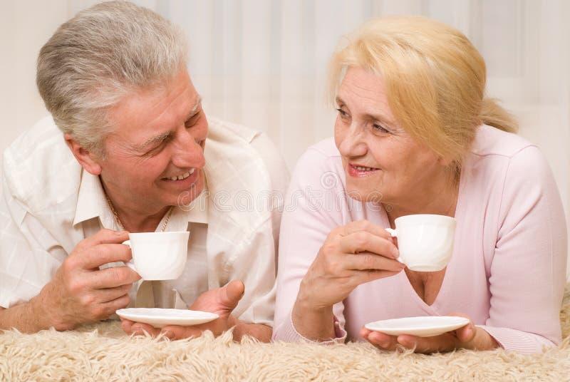 Portret van gelukkig glimlachend bejaard paar royalty-vrije stock foto