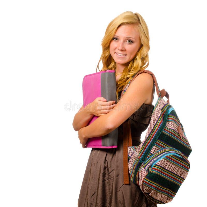 Portret van gelukkig glimlachend tienerschoolmeisje stock foto's