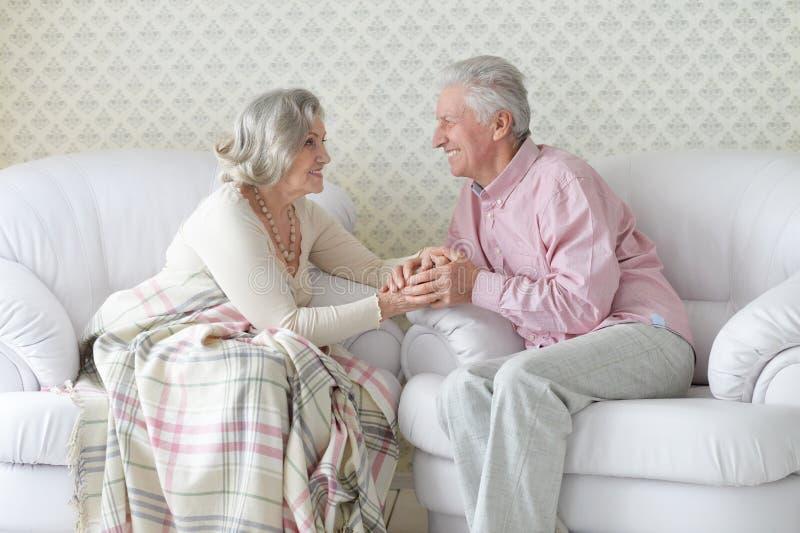 Portret van gelukkig hoger en paar die thuis rusten stellen royalty-vrije stock afbeeldingen