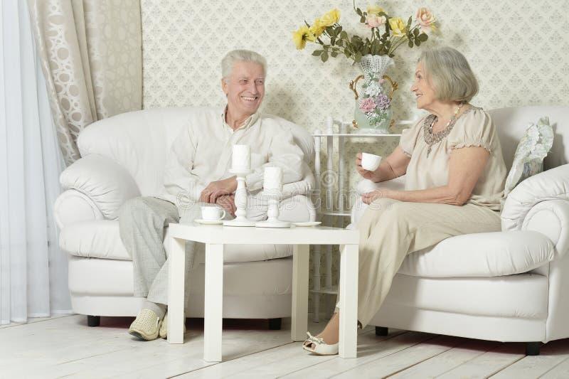 Portret van gelukkig hoger paar die thuis met theekoppen rusten stock afbeelding