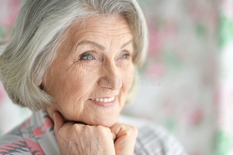 Portret van gelukkig hoger vrouwenportret thuis stock foto's
