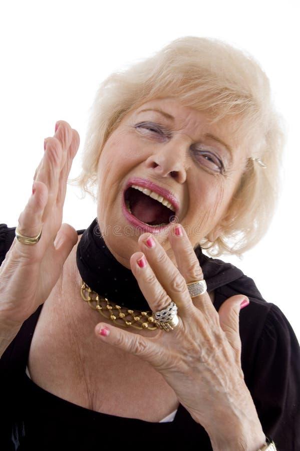 Portret van gelukkig oud wijfje royalty-vrije stock foto