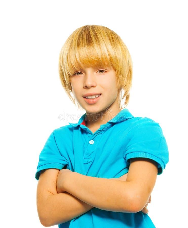 Portret van gelukkige blonde jongen stock foto's