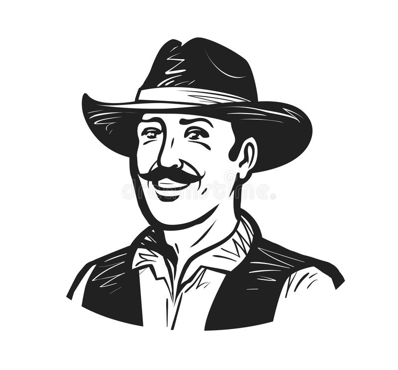 Portret van gelukkige cowboy of landbouwer Kweker, winemaker, winegrower, brouwersembleem of pictogram Schets vectorillustratie stock illustratie