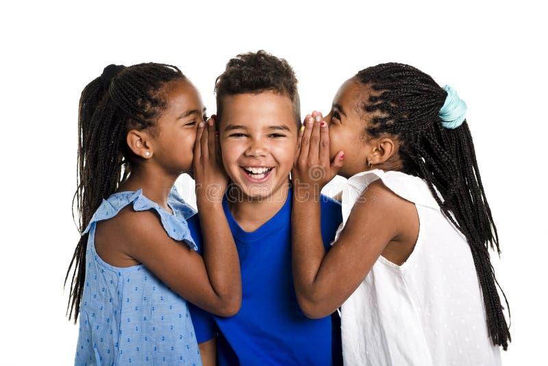 Portret van gelukkige drie zwarte kinderen, witte achtergrond stock foto's