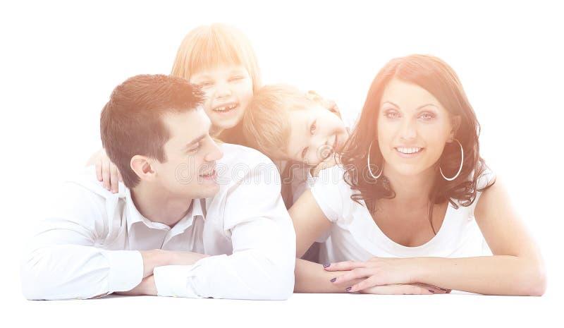 Portret van gelukkige een vier-lid familie royalty-vrije stock afbeelding