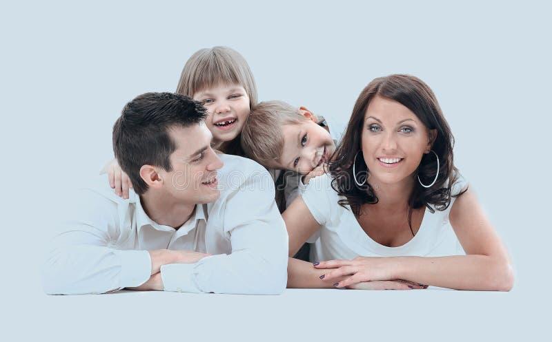 Portret van gelukkige een vier-lid familie royalty-vrije stock foto