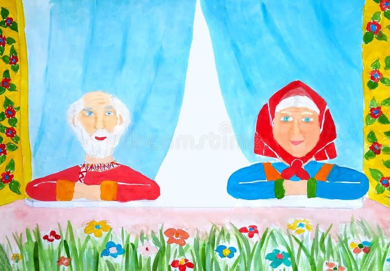 Portret van gelukkige en gezonde grootoudersoudsten die met grijs haar en heldere kleren binnenshuis buiten het venster als a zit vector illustratie