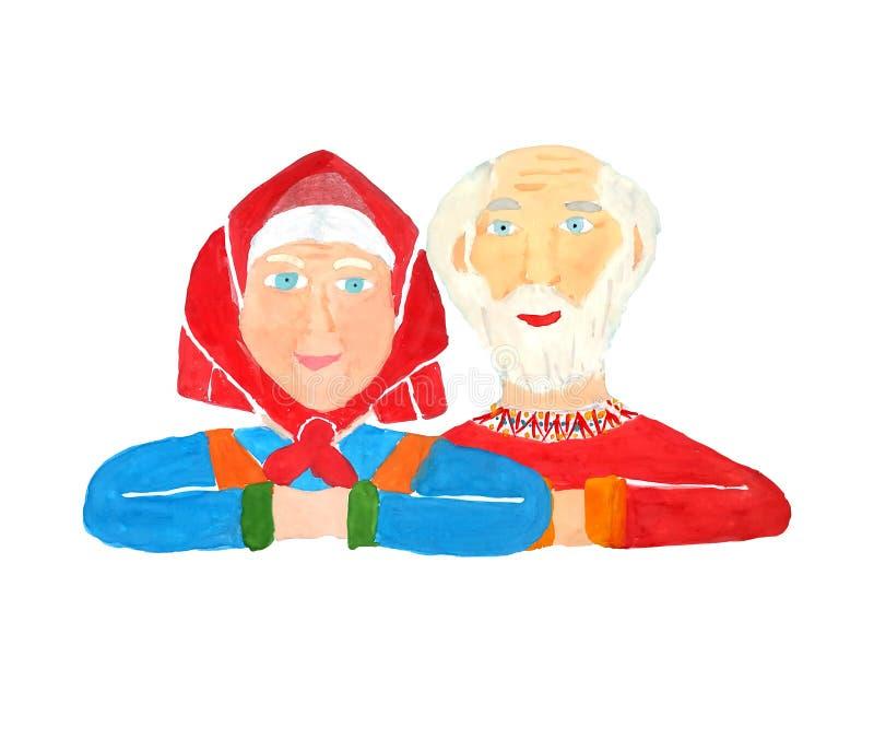 Portret van gelukkige en gezonde grootoudersoudsten die met grijs haar en heldere kleren elkaar op een witte achtergrond koestere royalty-vrije illustratie
