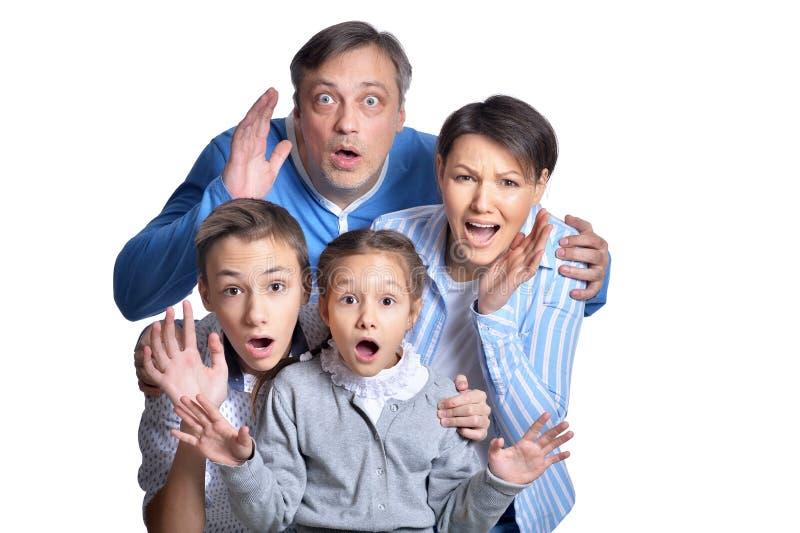 Portret van gelukkige glimlachende familie die samen stellen stock afbeeldingen