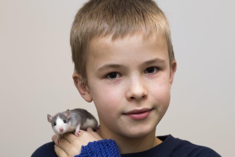 Portret van gelukkige glimlachende grappige leuke knappe kindjongen met de witte hamster van de huisdierenmuis op schouder op lic royalty-vrije stock afbeelding