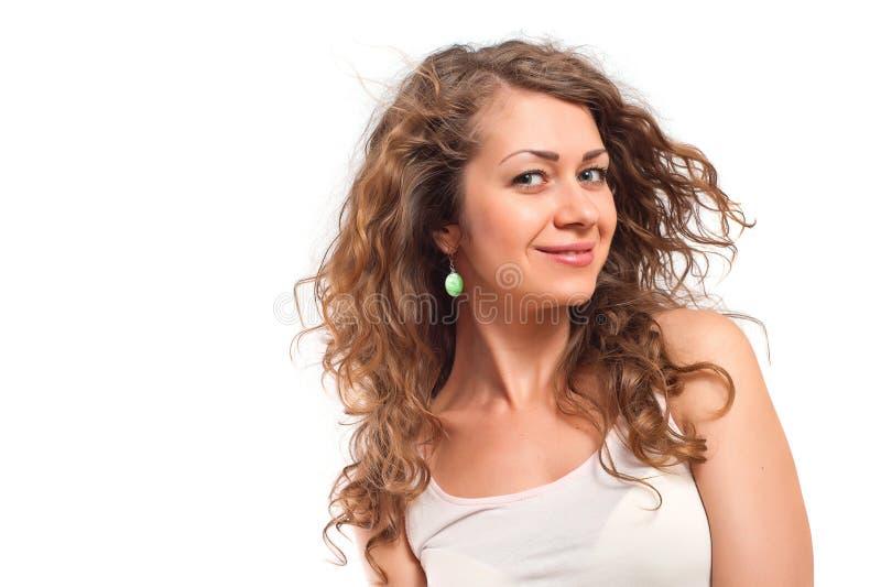Portret van gelukkige glimlachende jonge vrouw stock afbeelding