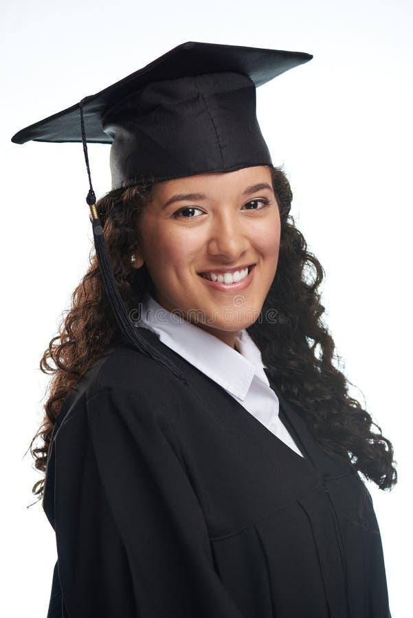 Portret van gelukkige glimlachende studente stock foto's