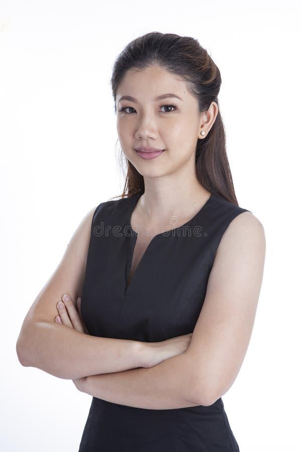 Portret van gelukkige jonge bedrijfs geïsoleerde vrouw royalty-vrije stock fotografie
