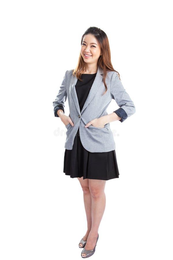 Portret van gelukkige jonge bedrijfs geïsoleerde vrouw stock afbeeldingen