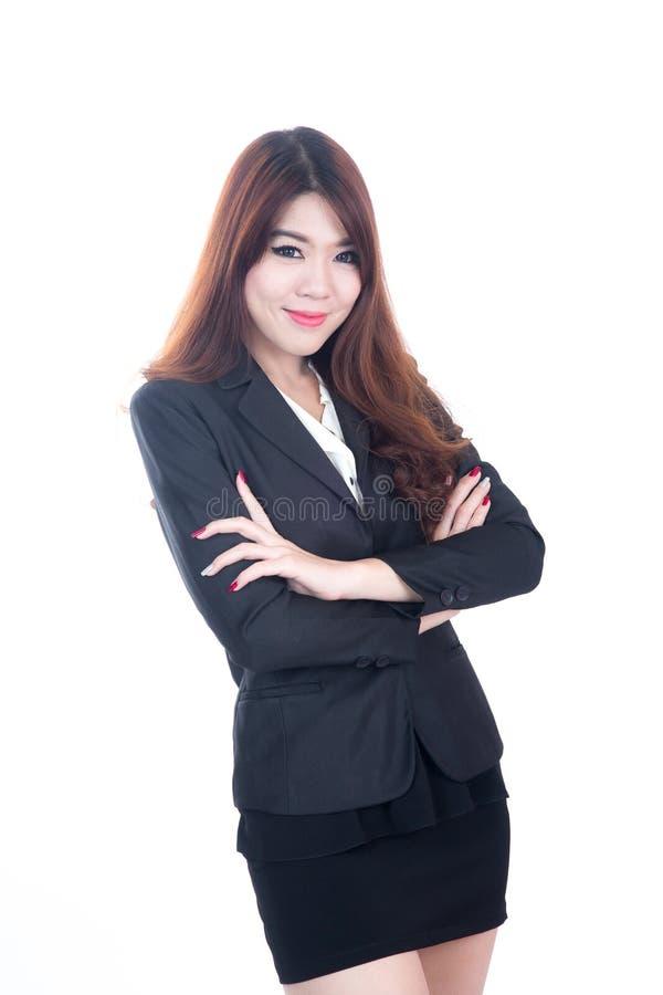 Download Portret Van Gelukkige Jonge Bedrijfsvrouw Stock Foto - Afbeelding bestaande uit lang, hand: 54081416