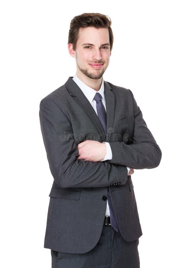 Portret van gelukkige midden oude zakenman royalty-vrije stock foto