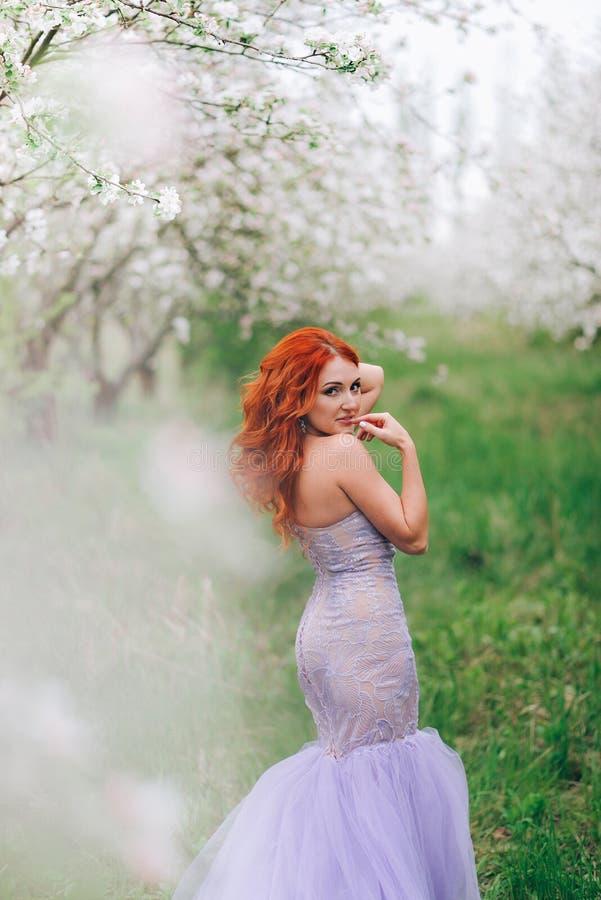 Portret van gelukkige roodharige vrouw in gebloeide appelboomgaard stock foto's