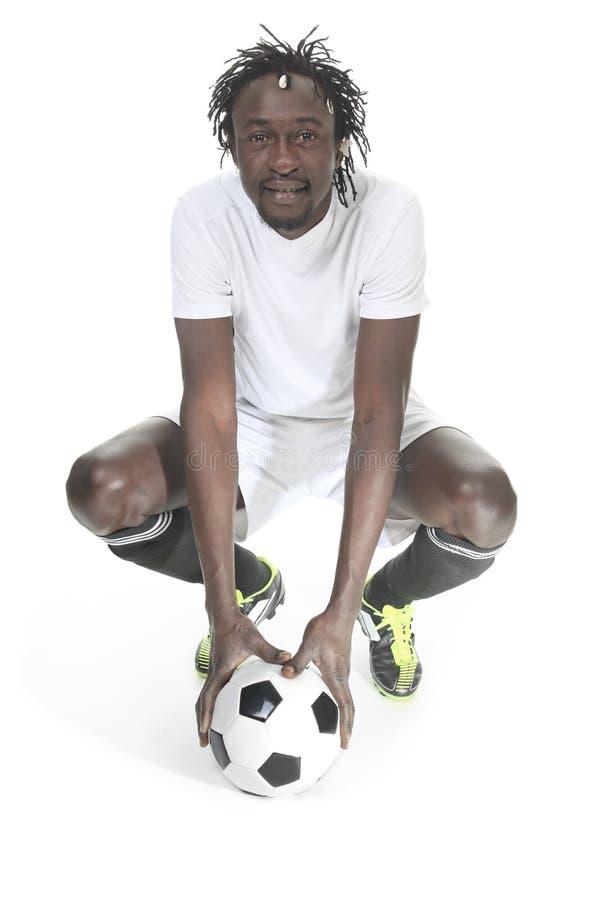 Portret van gelukkige voetballer stock foto's