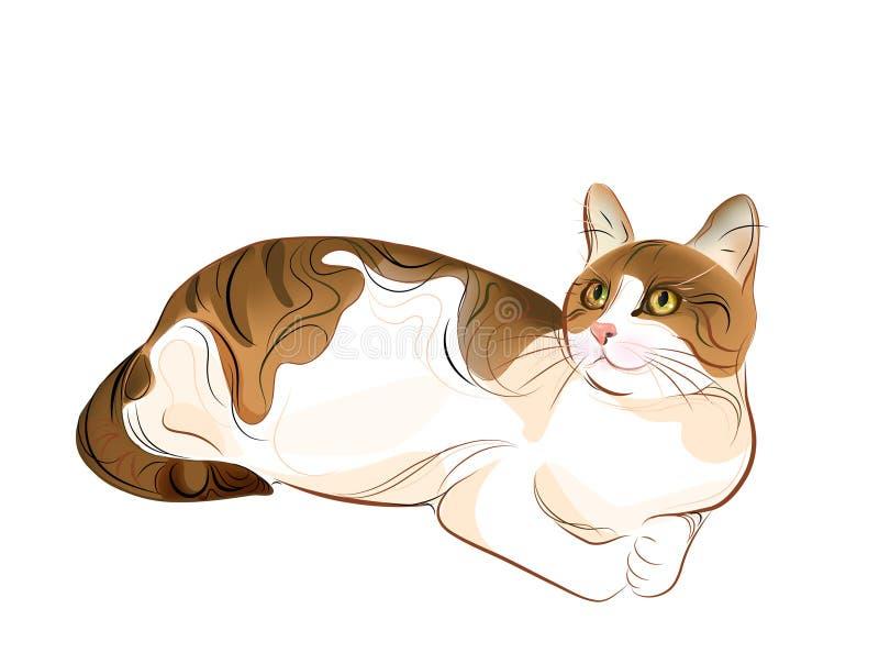 portret van gember tabby kat stock illustratie