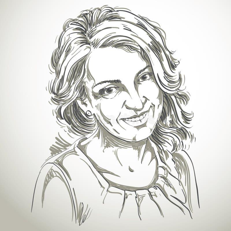 Portret van gevoelige knappe vrouw, zwart-witte vector stock illustratie