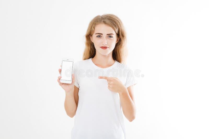 Portret van glimlachende aantrekkelijke, mooie vrouw, meisje in overhemd, het richten Tieneronderneemster Zekere jonge manager stock afbeelding