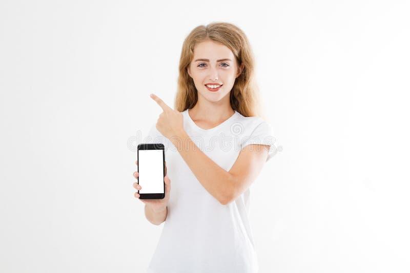 Portret van glimlachende aantrekkelijke, mooie vrouw, meisje in overhemd, het richten Tieneronderneemster Zekere jonge manager stock fotografie
