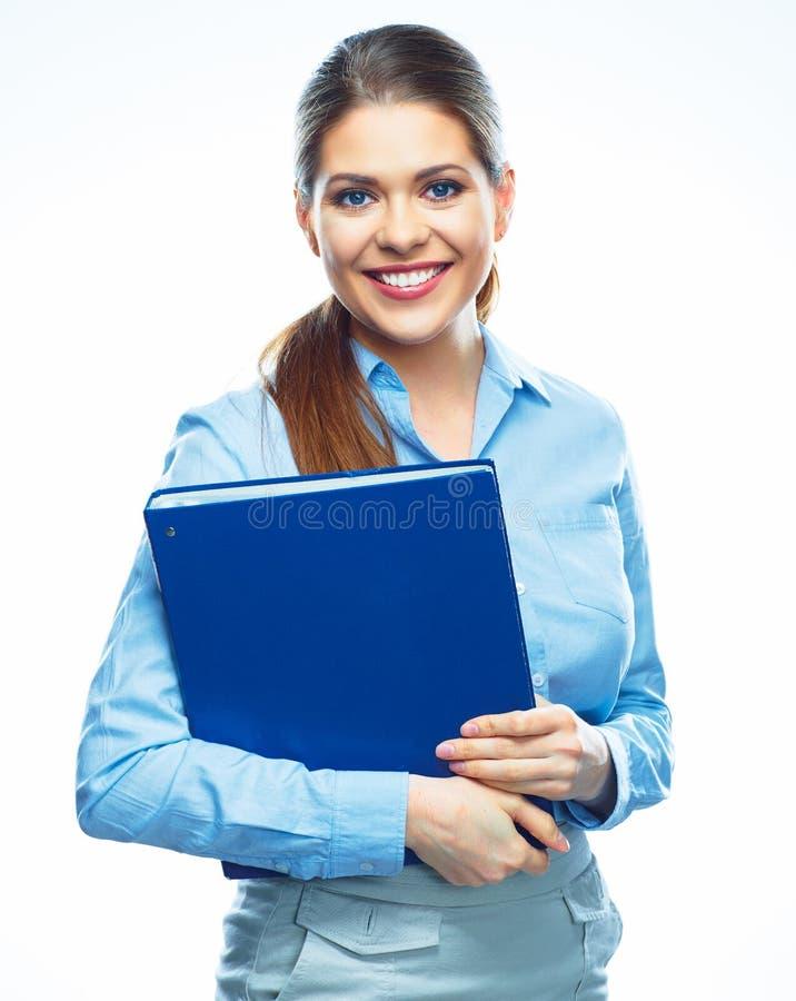 Portret van glimlachende bedrijfsdievrouw op witte achtergrond wordt geïsoleerd royalty-vrije stock foto