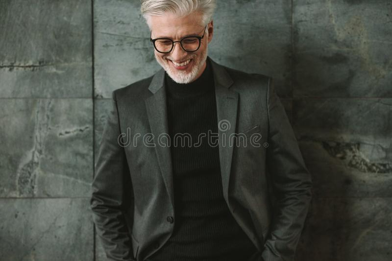 Portret van glimlachende hogere zakenman royalty-vrije stock foto