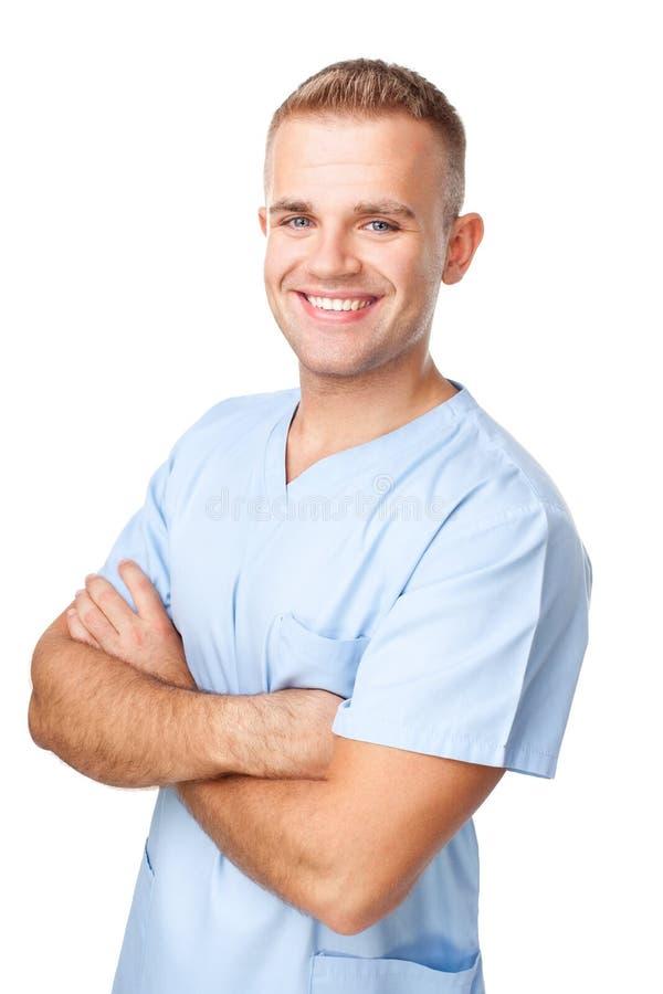 Portret van glimlachende jonge verpleger royalty-vrije stock afbeeldingen