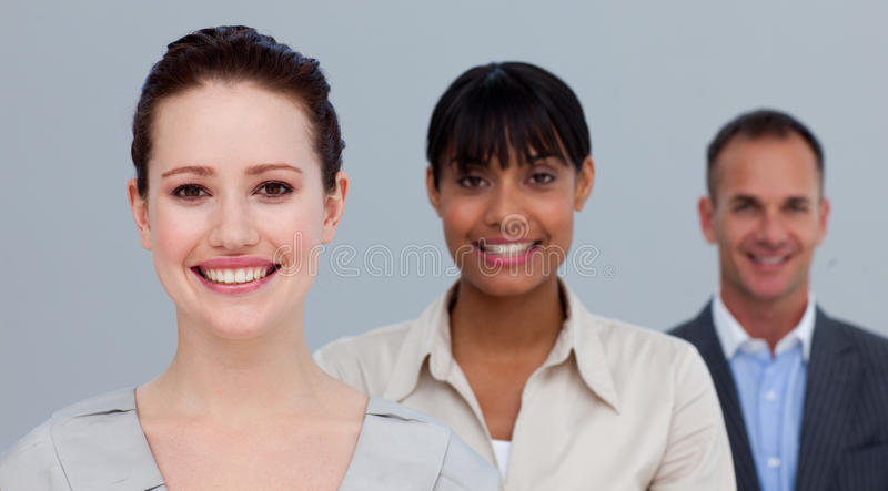 Portret van glimlachende multi-etnische bedrijfsmensen royalty-vrije stock foto's
