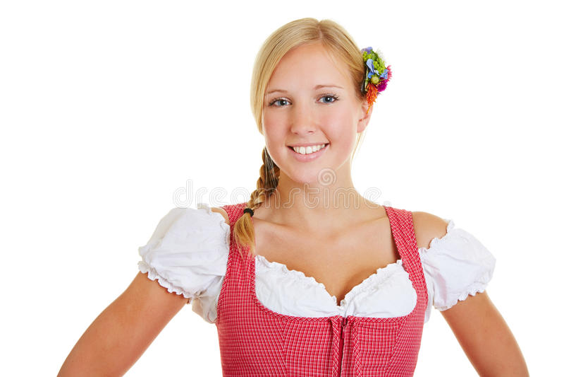 Portret van glimlachende vrouw in dirndl royalty-vrije stock foto's
