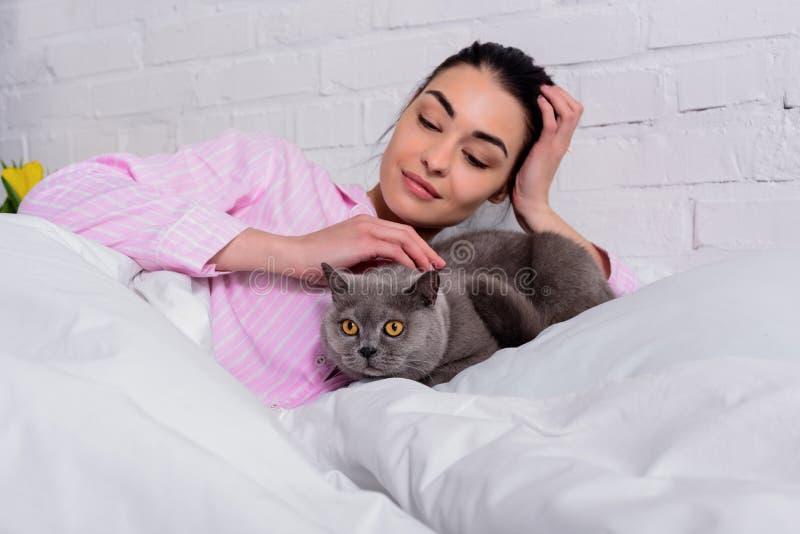 portret van glimlachende vrouw in pyjama's die de kat van Groot-Brittannië petting shorthair terwijl het rusten op bed royalty-vrije stock afbeeldingen