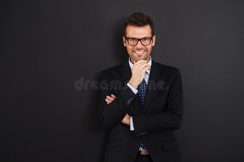 Portret van glimlachende zakenman stock afbeeldingen