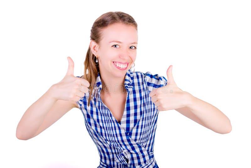 Portret van grappig blij vrouwenwijfje stock foto