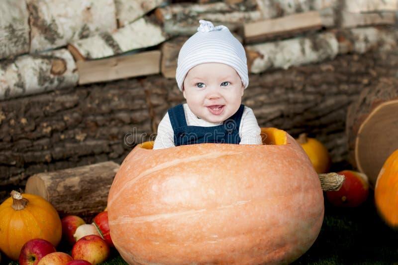 Portret van grappige baby in grote pompoen stock foto's
