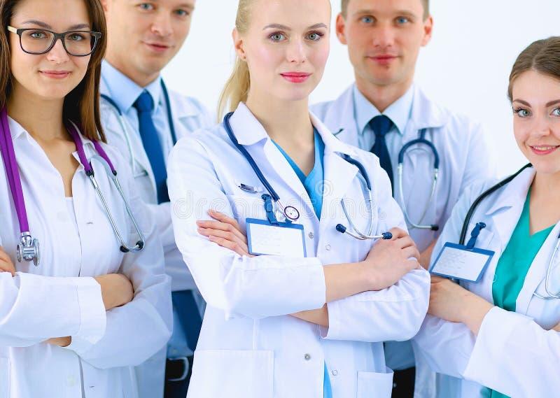 Portret van groep glimlachende het ziekenhuiscollega's stock afbeeldingen