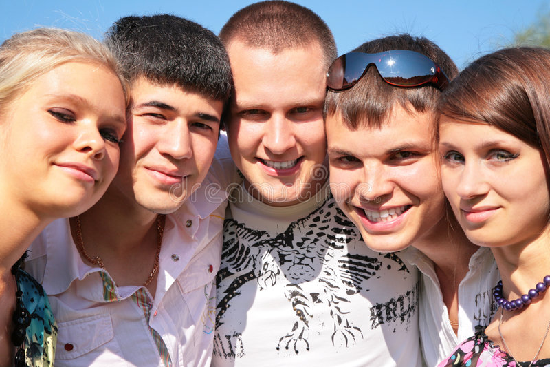 Portret van groep vrienden stock foto