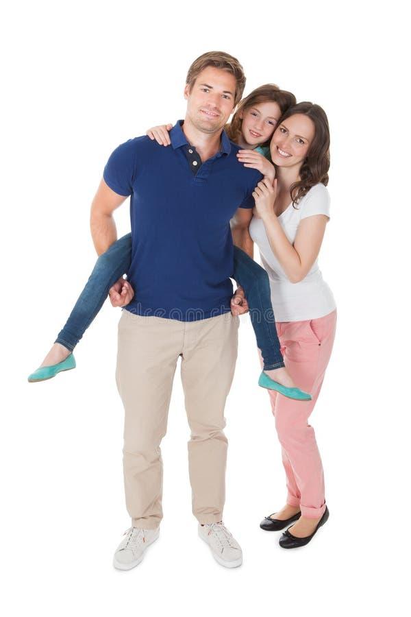 Portret van hartelijke familie stock afbeeldingen