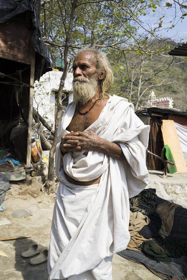 Portret van Heilige mensen Sadhu in Rishikesh India stock foto's