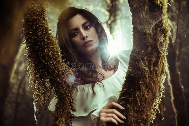 Portret van het beautoful dame stellen onder bomen stock foto's