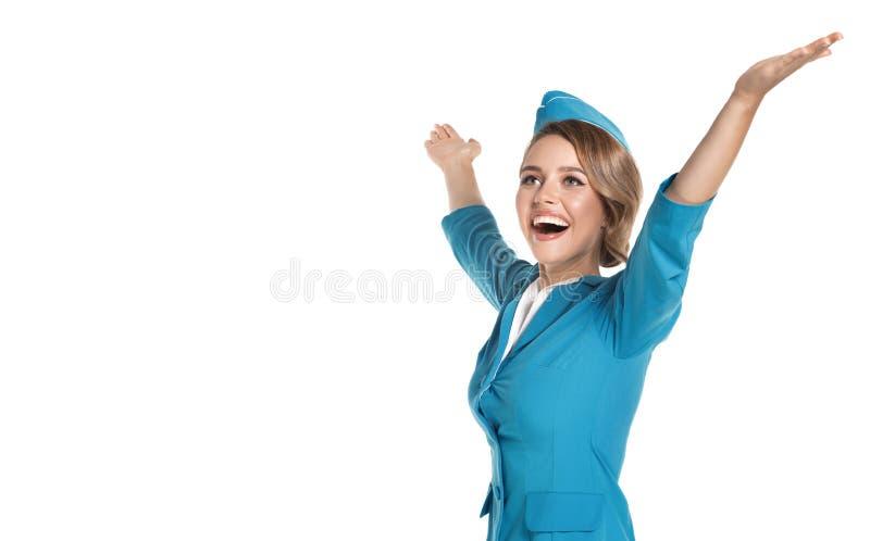Portret van het charmeren van stewardess die in blauwe eenvormig dragen royalty-vrije stock afbeelding
