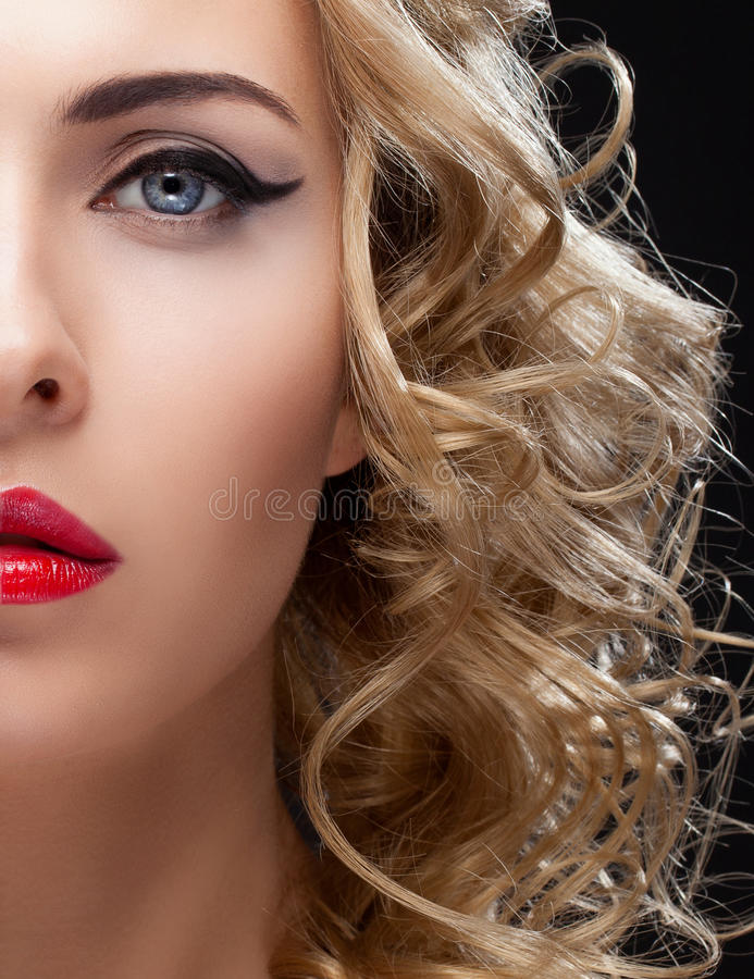Portret van het close-up het halve gezicht van meisje royalty-vrije stock foto's