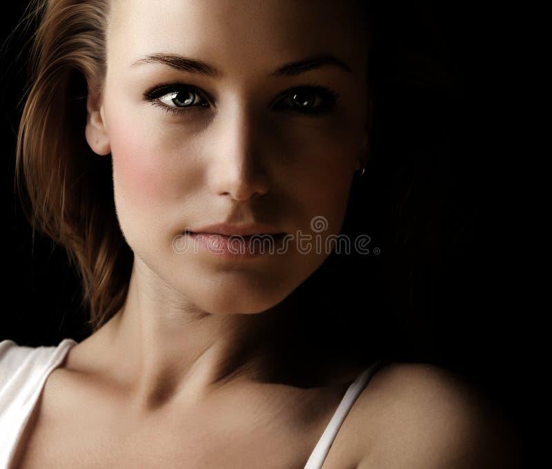 Portret van het de vrouwen het donkere gezicht van de glamour stock fotografie